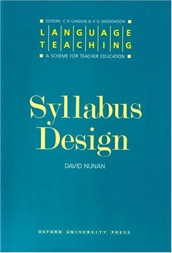 Syllabus Desigh: Language Teaching:Scheme for Teacher Education